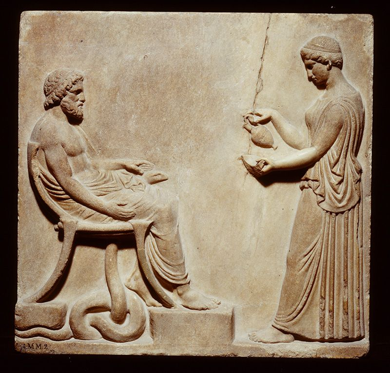 Reliëf met Asklepios en Hygieia