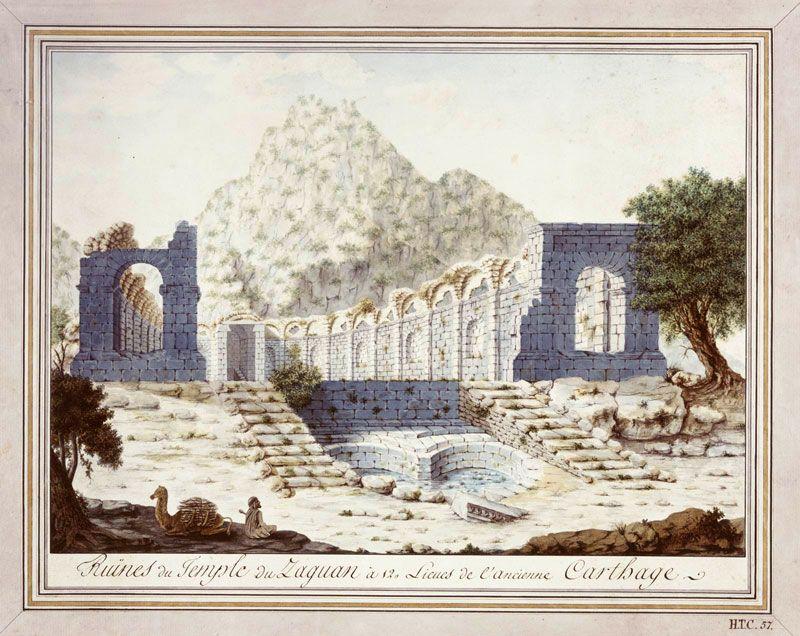 Aquarel 'Tempel van Zaghouan' (Tunesië), ca. 1820. Archief Rijksmuseum van Oudheden