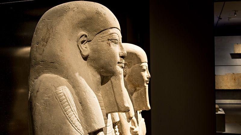 Egyptische beelden in het Rijksmuseum van Oudheden