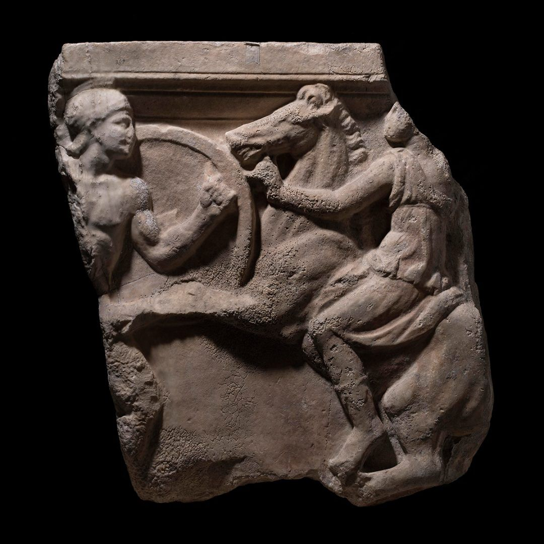 Roman age Greek-Amazon fight relief