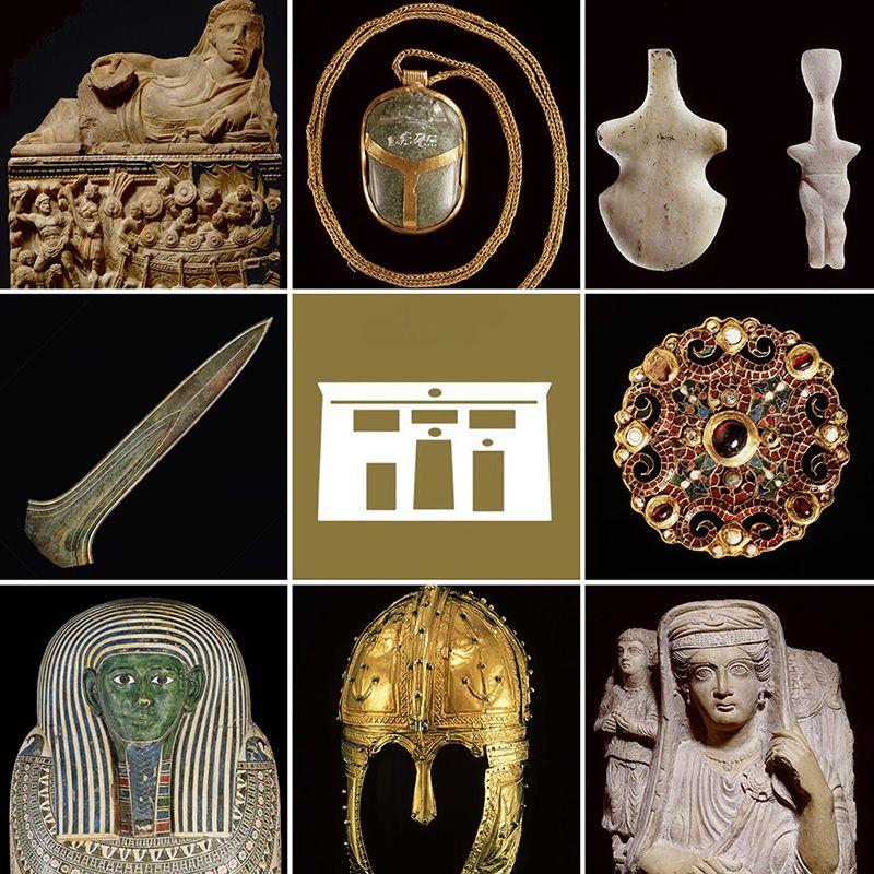 Enkele topstukken en het audiotour-symbool (tempel)