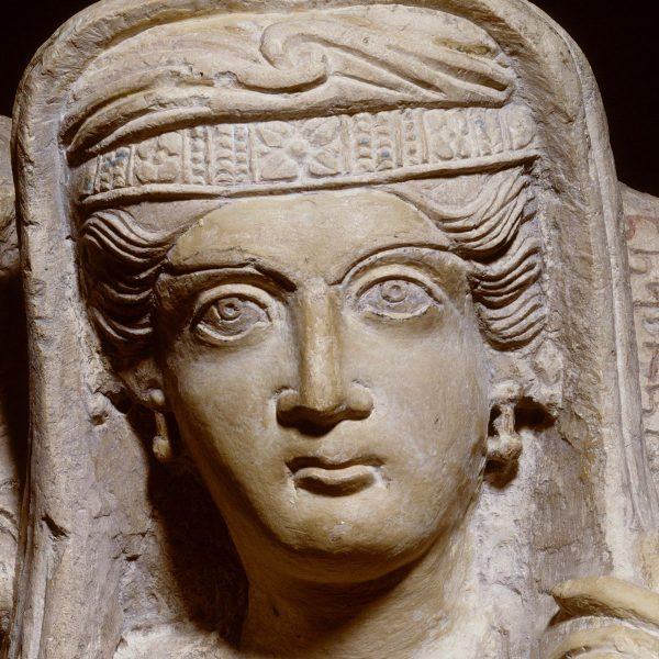 Blij hooghartig of droevig pop-up tentoonstelling Palmyra